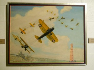 Painting by aviation artist Charles Herman Hubbell at the Crawford Museum