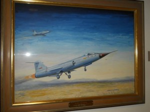Jet aircraft painting by Charles Herman Hubbell at the Crawford Museum