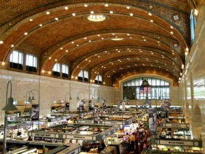 Interior view of the West Side Market building designed by architects Hubbell & Benes